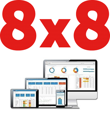 8x8 logo and interface on multiple devices