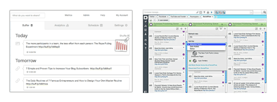 buffer vs hootsuite publishing and scheduling tools