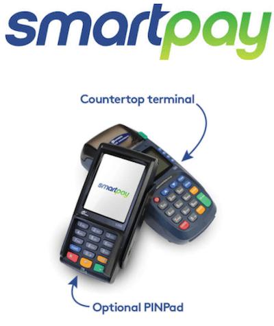 Smartpay logo and countertop card machine