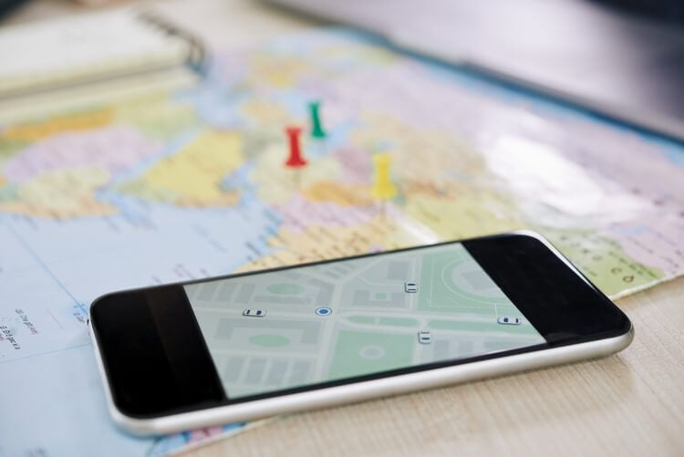A vehicle tracking app on a smartphone