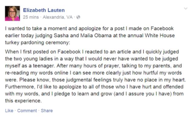 Elizabeth Lauten's apology post
