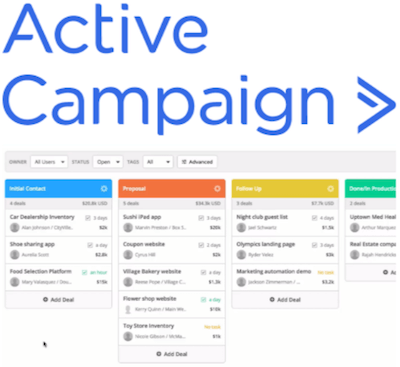 ActiveCampaign CRM logo and interface