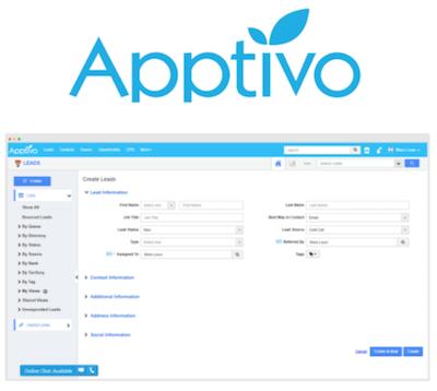 Apptivo CRM logo and interface