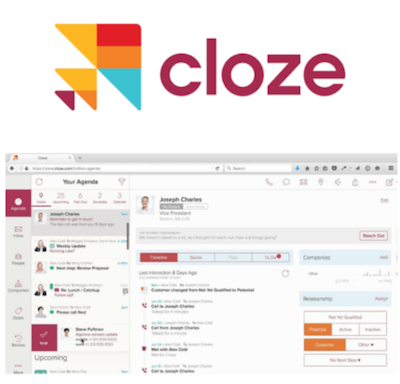 Cloze CRM logo and interface
