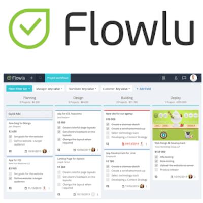 Flowlu CRM logo and interface