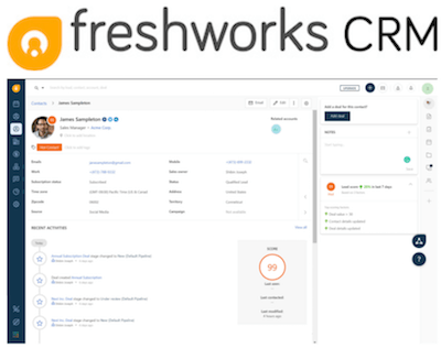 Freshworks CRM logo and interface