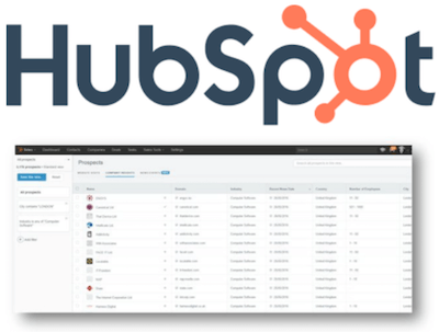 HubSpot logo and recruitment agency CRM interface