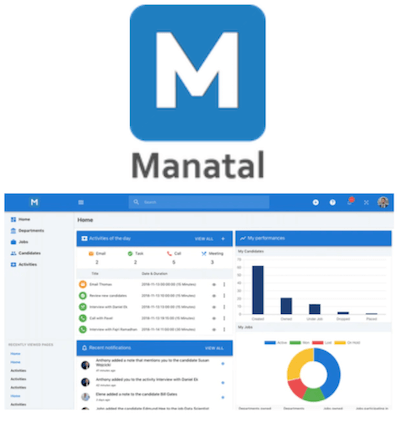 Manatal logo and recruitment agency CRM interface