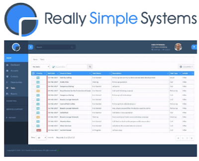Really Simple Systems CRM logo and interface