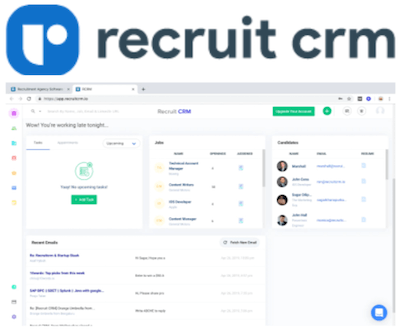 Recruit CRM logo and recruitment agency CRM interface