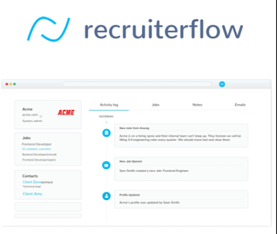 Recruiterflow CRM logo and recruitment agency CRM interface