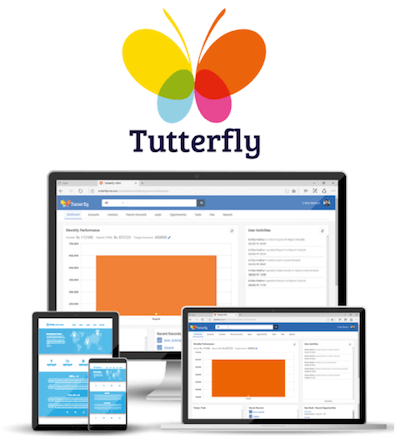 Tutterfly CRM logo and interface