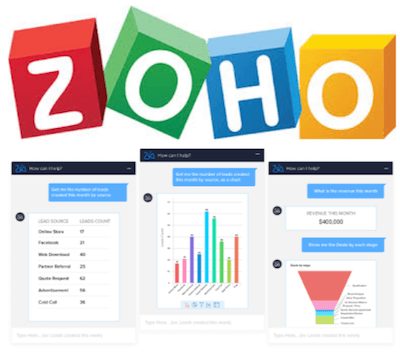 Zoho CRM logo and interface