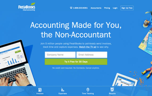 freshbooks homepage