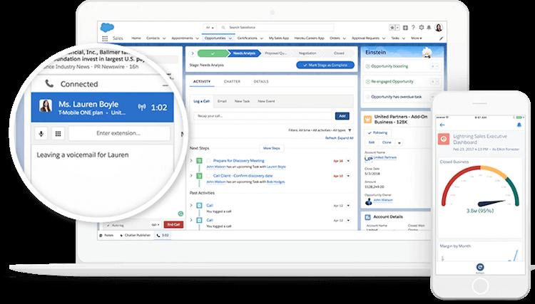 Interface du CRM Salesforce