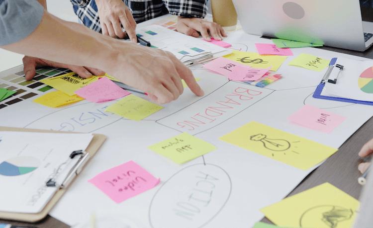 Marketing team working on a brainstorm