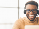 Customer service agent talking on headset