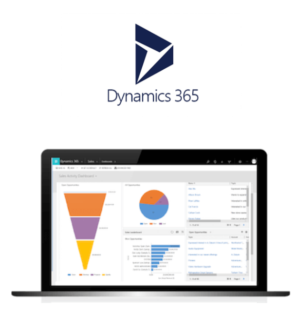 Dynamics 365 logo and analytical CRM interface