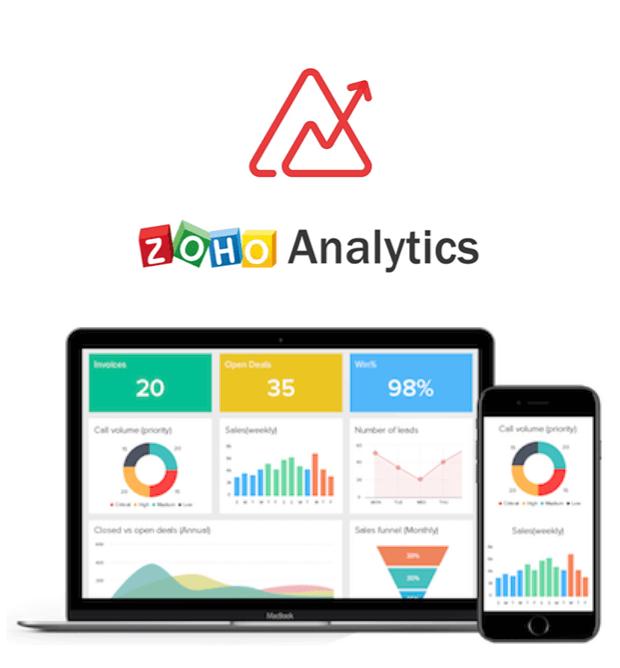 Zoho Analytics logo and analytical CRM interface