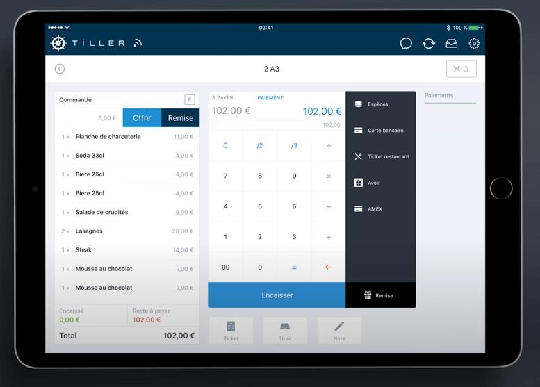 Le logiciel de caisse pour restaurant Tiller pour le paiement