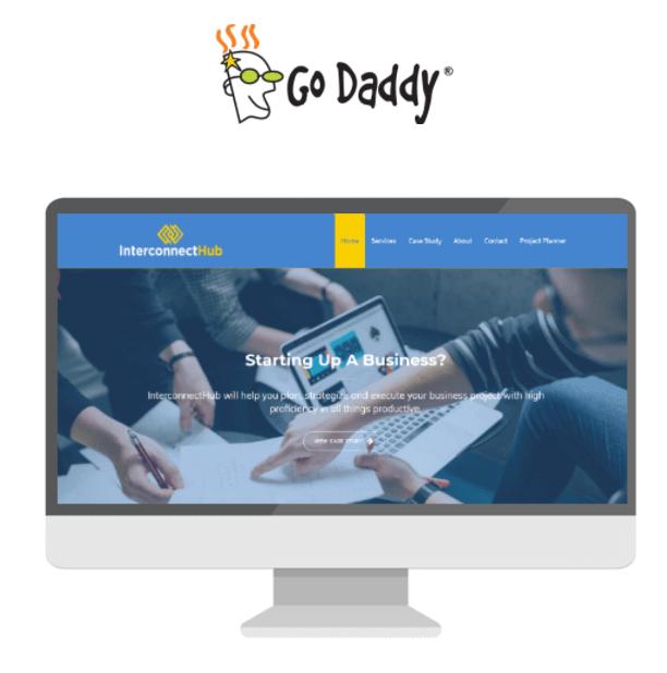 GoDaddy logo and screenshot display