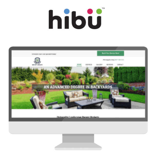 Hibu logo and screenshot display