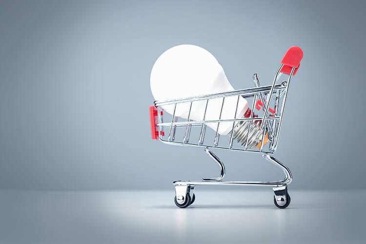 Light bulb in a shopping trolley