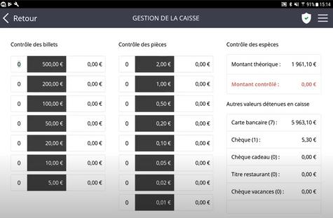 Capture écran du logiciel de caisse Rovercash