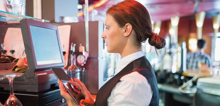 Barwoman using EPOS system