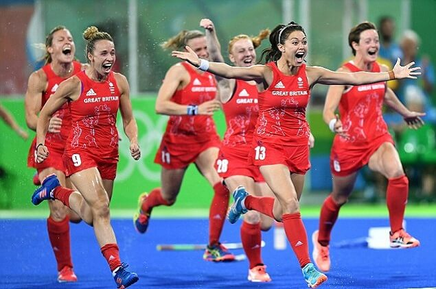 GB Women winning Hockey GOLD