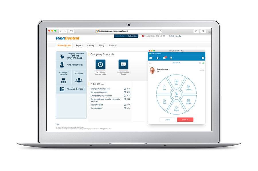 RingCentral Office on laptop