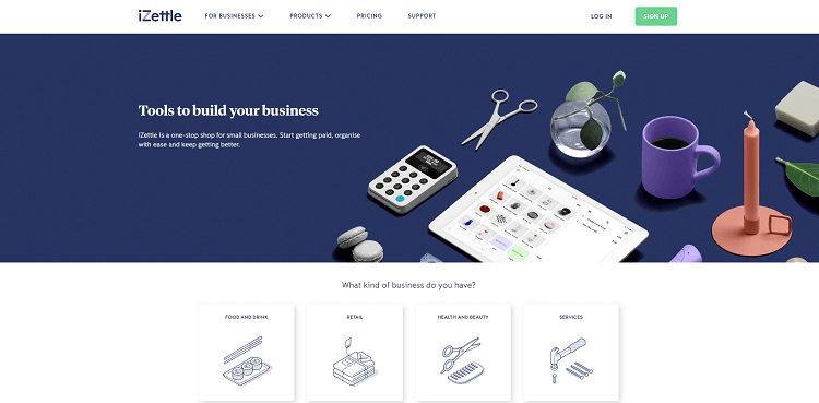 B2B website design - iZettle